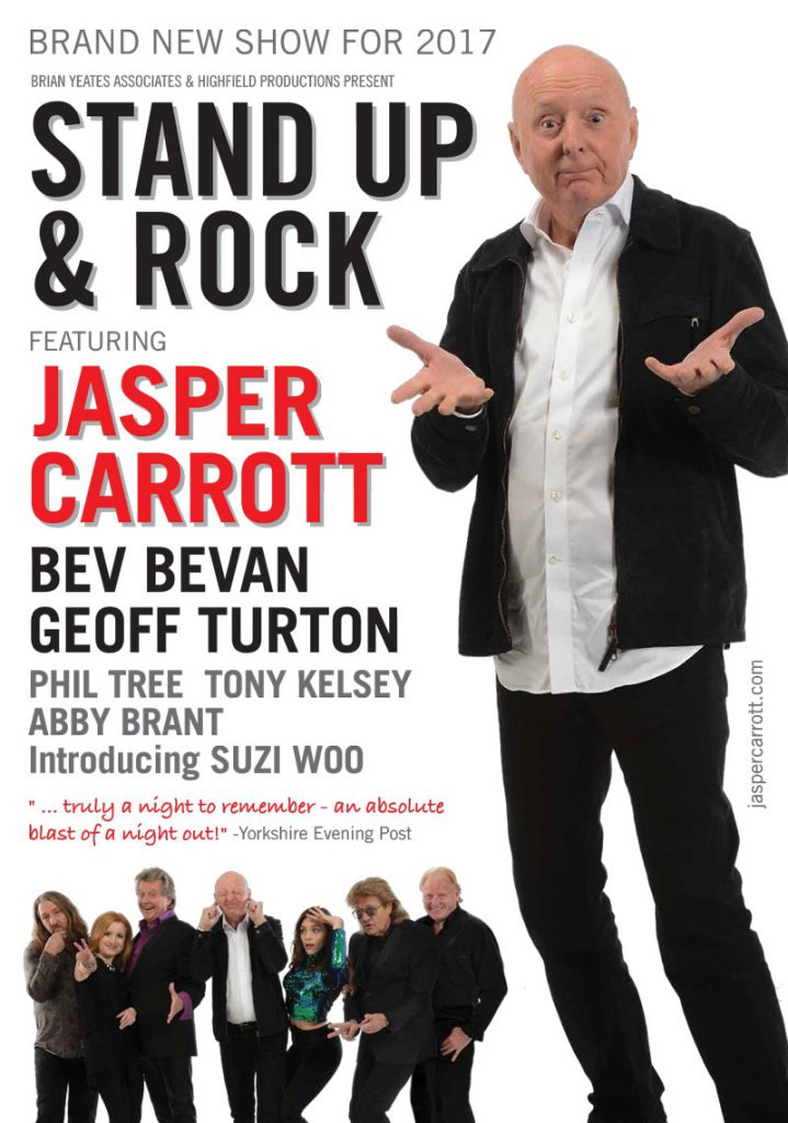 Jasper Carrott Stand Up and Rock with Bev Bevan Geoff Turton